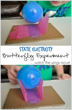 Static Electricity Butterfly Experiment | Demonstrate the effects of static electricity by making tissue paper butterfly wings move after electrically charging a balloon. | www.iheartcraftythings.com #science #CreativePreschools