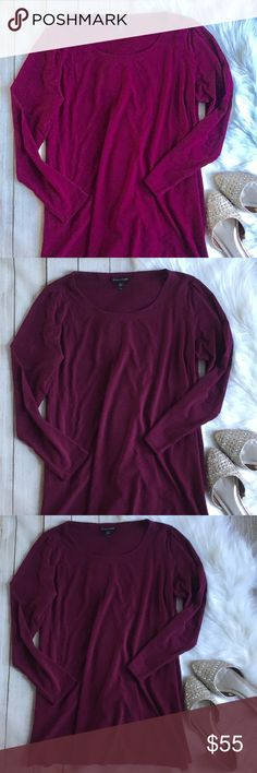 Eileen Fisher   Wine Colored Silk Tunic Eileen Fisher Wine colored Long Sleeve Tunic! Beautiful  & perfect for winter! Slits on the sides! Excellent condition! 100% silk! Slight imperfection on back, shown in last picture. Size S. Bust: 18in Length: 26in. ⭐️offers welcome⭐️ Eileen Fisher Tops Blouses