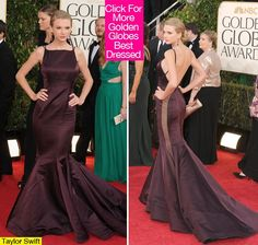 Taylor Swift in a deep purple gown with sheer side cutouts and plunging back #goldenglobes