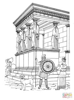 Wonderful Image of Temple Coloring Page Temple Coloring Page Erechtheion Temple Coloring Page Free Sightseeing Coloring Pages Jesus Coloring Pages, Animal Coloring Pages, Free Printable Coloring Pages, Coloring Pages For Kids, Ancient Egypt For Kids, Ancient Egyptian Art, Ancient Greece, Greek History, Ancient History