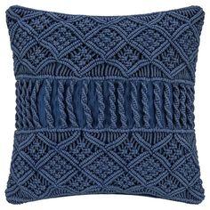 A by Amara - Lattice Crochet Pillow - Blue x Chunky Crochet Design Cu .A by Amara - Lattice Crochet Pillow - Blue x Chunky Crochet Design Cu . Boho Cushions, Knitted Cushions, Wool Pillows, Diy Pillows, Decorative Pillows, Throw Pillows, Macrame Art, Macrame Projects, Macrame Knots