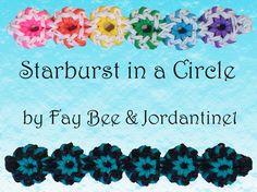 New Starburst in a Circle Bracelet - - Monster Tail or Rainbow Loom Rainbow Loom Tutorials, Rainbow Loom Patterns, Rainbow Loom Creations, Rainbow Loom Bands, Rainbow Loom Charms, Rainbow Loom Bracelets, Diy Bracelets Elastic, Loom Band Bracelets, Loom Bands Designs
