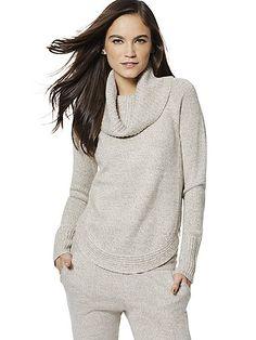 Lounge - Lurex Marled Cowl-Neck Sweater - New York & Company