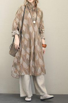 Fall Vintage Loose Camel Linen Dresses For Women – Mode für Frauen Muslim Fashion, Modest Fashion, Hijab Fashion, Fashion Dresses, Simple Dresses, Casual Dresses, Linen Dresses, Dresses With Sleeves, Look Fashion