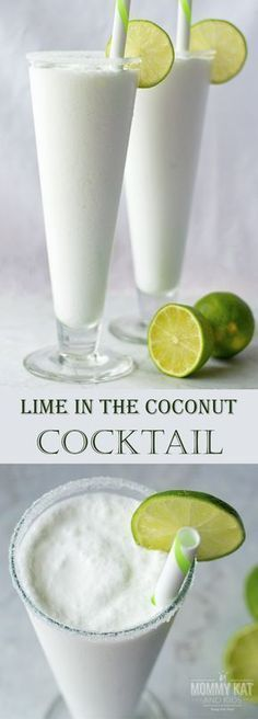 Looking for a unique and delicious cocktail to serve at your next summer party? You've got to try this Lime in the Coconut Cocktail! With rum, coconut milk and margarita mix, it's fun, delicious and ready in minutes! Or leave out the rum for a mocktail the whole family will love! Make sure you save this to your drink board so you can find it later. #cocktailrecipes