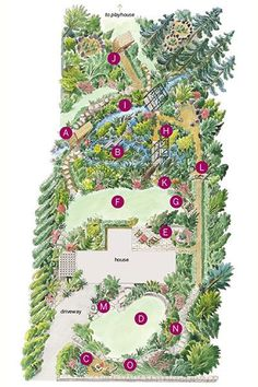 Illustration: Rodica Prato thisoldhouse.com from Into the Woods for a Lot Turned into Magical Garden Rooms