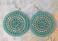 Silver and Turquoise Seed Beaded Earrings - Big Bold Multicolored Disc Earrings Beaded Earrings Native, Big Earrings, Seed Bead Earrings, Earrings Handmade, Seed Beads, Crochet Earrings, Mandala Jewelry, Bead Jewellery, Beaded Jewelry