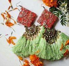 Pinterest • @KrutiChevli . #tasselearrings Thread Jewellery, Tassel Jewelry, Textile Jewelry, Fabric Jewelry, Fabric Earrings, Diy Earrings, Tassel Earrings, Teracotta Jewellery, Passementerie