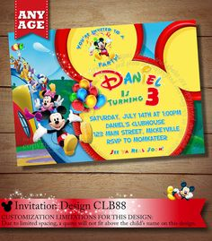 Mickey Mouse Clubhouse Invitations, Mickey Mouse Clubhouse Invitation, Mickey ClubHouse Invitation, Clubhouse Invitation, PRINTABLE FILE