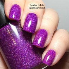 Smitten Polish Sparkling Orchid - holo glitter version of Radiant Orchid
