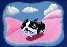Boston Terrier Running Down a Pink Hill by rubenacker on Etsy, $18.00