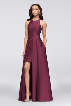 Mikado Bridesmaid Ball Gown with Overskirt Style F19822, Wine, 10