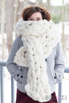Chunky Giant Stitch 100% Merino Wool Oversized Scarf  Demasiadoooo
