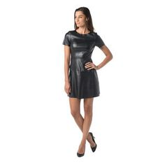 Vegan Leather Dress in Black