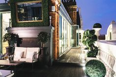 Outdoor patio at Tom Cruise's London Penthouse // Interior Designer Paul Davies