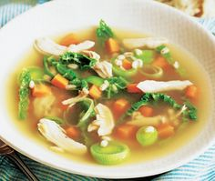 Chicken and vegetables in broth