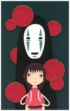 Meghan Stratman's Nerdy Art Collages Are Delightful: Chihiro/ Sen and No Face of Spirited Away