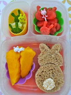 Vegan Bento - (Children's Easter Themed) Nutty Oat bread (With With Almond butter And Jam), Sweet & Sara Toasted Coconut Marshmallow Tail, Mangos Cut Into Carrot Shapes, Cucumber Bunny Slices & Watermelon Bunnies