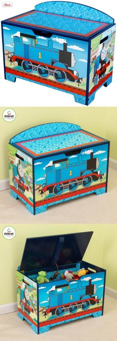 KidKraft Thomas And Friends Toy Box, Choo choo! The KidKraft Thomas & Friends Toy Box is rolling into a play room near you. Brightly colored and printed with a Thomas the Train theme, this sturdy toy box is constructed from composite woo..., #Toys, #Categories, http://www.pylinks.com/store/item-B004SNMJZE