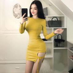 Sexy Gothic Asymmetrical Bodycon Long Sleeve Mini Dress Sexy Evening Dress, Evening Dresses, Long Sleeve Mini Dress, Ulzzang Girl, Black N Yellow, Asian Woman, Sexy Women, Mini Skirts, Bodycon Dress