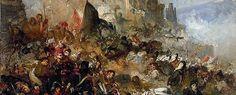 Ramon Martí Alsina (1826-1894). Els setges. (Defensa de Gerona, contra los franceses en 1809). h. 1865 Óleo sobre lienzo, 45,5 x 84 cm. Museu d'Art de Girona.