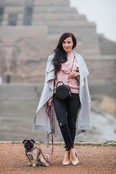 Outfit Pullover mit Rüschen von Topshop, Mantel von Object und runder Tasche von Dezzal    Julies Dresscode    #ootd #fashion #fashionblogger #outfitinspo