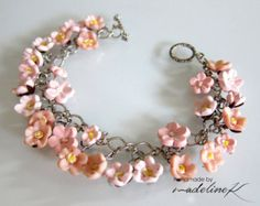 Rose Charm Bracelet Peachy Pink Polymer Clay by MadelineKdesign