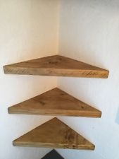They are across and from back corner to front of board, sides are 30 cm long,The wood is standard scaffold board thick. Wood Corner Shelves, Floating Corner Shelves, Rustic Shelves, Wooden Shelves, Wood Shelf, Vintage Industrial Furniture, Rustic Industrial, Rustic Wood, Rustic Furniture