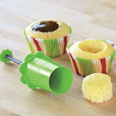 Turn cupcakes into delicious filled desserts. Here's an easy way to make special desserts that will wow your guests. It's as easy as 3 with this cupcake corer. Then, just fill with anything from frosting to ice cream to fresh fruit. Kitchen Items, Kitchen Gadgets, Kitchen Tools, Kitchen Products, Baking Gadgets, Genius Ideas, Filled Cupcakes, Baking Tips, Kids Baking