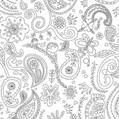 CIJ SALE Color Me Princess Paisley Coloring Fabric - Half Yard - Black and White…