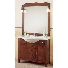 Mobile bagno Elio in arte povera da 105cm con specchio e pensile ...