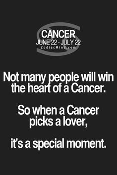 Not many people will win the heart of a Cancer. So when a Cancer picks a lover, it's a special moment. I guess that's why Terry picked me Cancer Zodiac Facts, Cancer Horoscope, Cancer Quotes, Horoscopes, Pisces, True Horoscope, Zodiac Mind, My Zodiac Sign, Zodiac Quotes