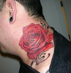 My rose - Color rose on the neck is also a popular choice among fans of tattoo art. Despite the visibility, neck rose tattoo is able to complement the existing tattoo compositions on the body.  Best of all, if it is done in the same style as the rest of the tattoos person have.