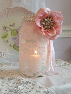 lace + mason jar= Perfect for table decorations