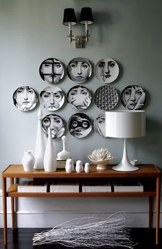 How To Decorate With Fornasetti Plates Fornasetti Plate Wall Decor The post How To Decorate With Fornasetti Plates appeared first on Wohnaccessoires. Plate Wall Decor, Plates On Wall, Hanging Plates, Piero Fornasetti, Fornasetti Wallpaper, Interior Decorating, Interior Design, Interior Stylist, Eclectic Design