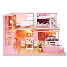 Doll Houses DIY Miniaturas House Toy Furniture Kits Wooden Miniature  Dollhouse Toys For Children Grownups Birthday Gift Price history. 8f01991f6258