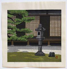Masao IDO (*1945): Joruri Temple Garden Temple Gardens, Stone Lantern, Heian Period, Paradise Garden, Japanese Prints, Woodblock Print, Asian Art, Printmaking, Old Things