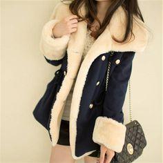 Frete Grátis 2013 de inverno casacos quentes mulheres lã fino casaco de inverno casaco de lã double breasted mulheres de peles casacos casaco de mulheres 20.90