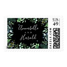 #Green Leaves Woodland Wedding Postage - #outdoor #wedding #gifts
