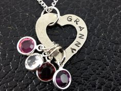 Handstamped Granny Necklace - Personalized Jewelry -  Granny, Grandmother, Nana Heart Necklace with Swarovski Crystal Birthstones by SunflowerShadows on Etsy