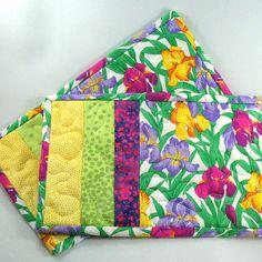 Mug Rug Snack Mat Pair Iris Flowers by KathyKinsella on Etsy