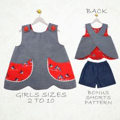 Scanlan top and shorts - Girls sizes 2 to 10 - by My Childhood Treasures | Sewing Pattern |  YouCanMakeThis.com