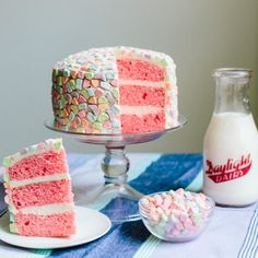 A bottom-of-the-bowl cereal milk flavored cake covered in a mosaic of your favorite breakfast marshmallows!