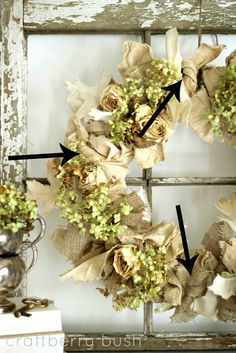 Rita, I can do the Burlap & canvas leaves part if you can find the hydrangeas....A Neutral Fall Wreath