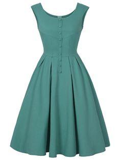 Scoop Neck Buttoned Sleeveless Vintage Dress - Green S Vintage Outfits, Vintage Dresses Online, Robes Vintage, Vintage Fashion, Dress Vintage, Day Dresses, Cute Dresses, Dresses For Work, Dresses With Sleeves