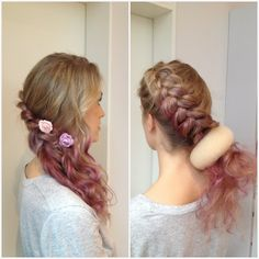 Hair chalk will make your hairdo to go next level. #hairdo #hairchalk #glitterhaireverywhere #hair #curls #curly #curl #ombre #braid #braided #hairbun #bun