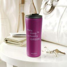 """De Papillon thermosbeker van Aladdin (USA) is 100% ecologisch en daarom ook """"actually green"""". De beker is voorzien van dubbelwandige isolatie én een deksel met sluitklep. Perfect voor in de wagen of op het werk, om op te warmen met een lekkere slok koffie of thee.  Materiaal: eCycle, een gerecycleerde en recycleerbare kunststof. Inhoud: 0,35l. Mag in de microgolfoven - Vaatwasbestendig."""