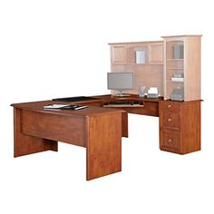 Realspace Broadstreet Contoured U Shaped Desk 30 H x 65 W x 28 D Desk With 92 L Connecting BridgeShell Maple by Office Depot & OfficeMax 270$