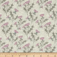 Lewis & Irene The Glen Thistle Light Grey from @fabricdotcom  Designed by Lewis and Irene, this cotton print fabric is perfect for quilting, apparel and home decor accents. Colors include shades of grey, pink, white and teal.