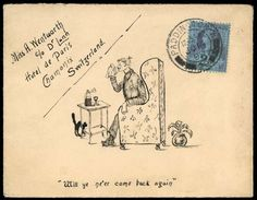 1899 (Jun.) pen and ink illustrated envelope entitled 'Will ye ne'er come back again', sent from London to Switzerland with 1887–92 21/2d stamp.